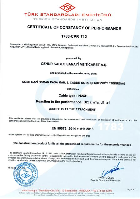 N2XH B2ca, s1a, d1, a1 SINGLE CORE  TSE CPR CERTIFICATES