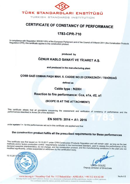N2XH Cca, s1a, d2, a1 SINGLE CORE TSE CPR CERTIFICATES