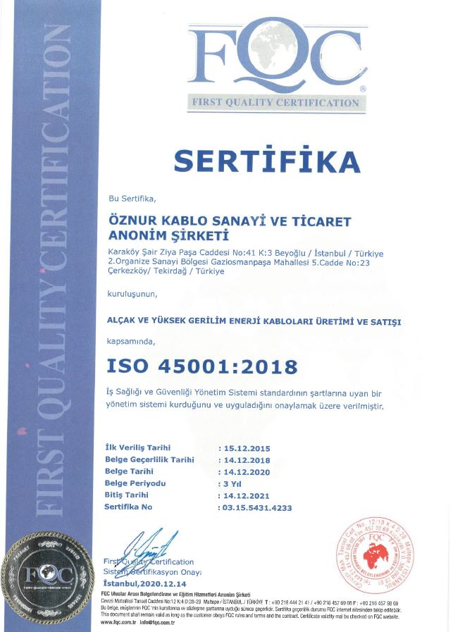 ISO 45001 OCCUPATIONAL HEALTH AND SAFETY CERTIFICATE